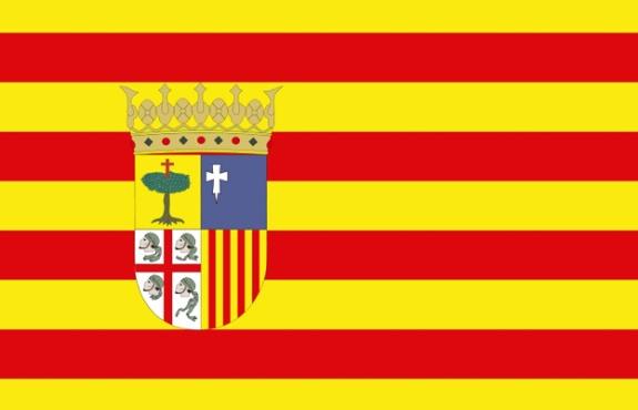 Bandera de Aragón, con el escudo aragonés